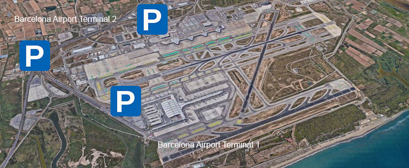 Parking areas for T1 and T2 Barcelona airport